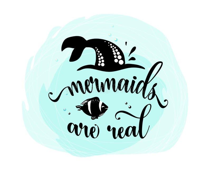 Les sirènes sont vraies Queue de sirène, bulles et poissons mignons Citation d'inspiration au sujet de l'été, silhouette noire su illustration libre de droits