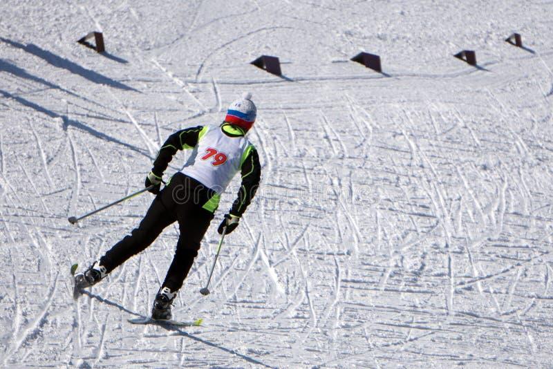 Les skieurs de sports courent sur des skis dans des vêtements d'hiver images stock