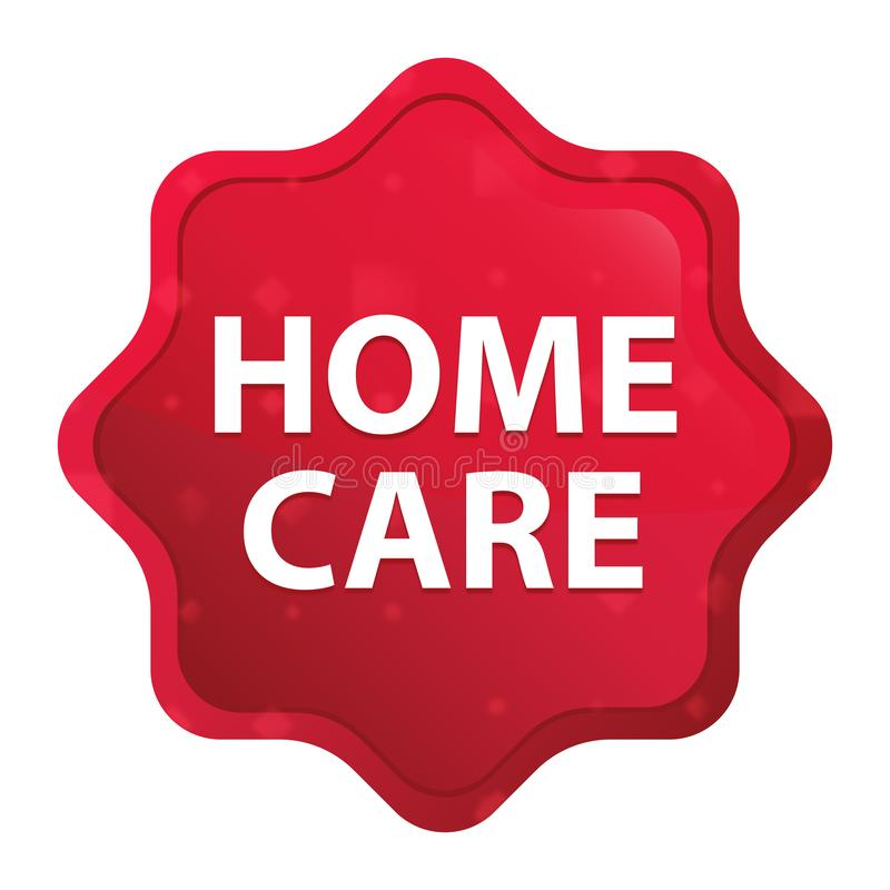 Les soins à domicile brumeux ont monté bouton rouge d'autocollant de starburst illustration de vecteur