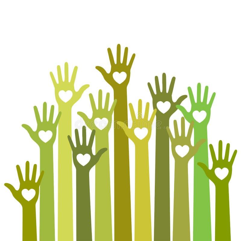Les soins colorés jaunes verts vers le haut des coeurs de mains dirigent le logo illustration libre de droits