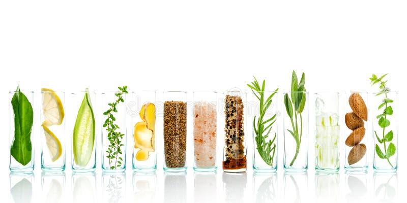 Les soins de la peau et le corps faits maison frottent avec l'aloès naturel d'ingrédients images stock
