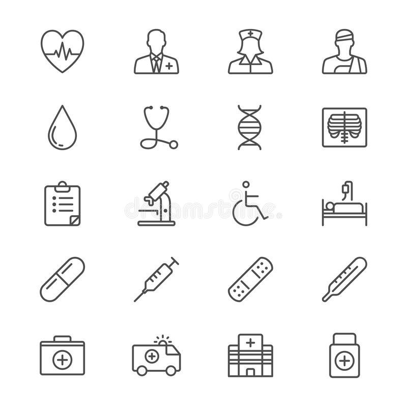 Les soins de santé amincissent des icônes illustration de vecteur
