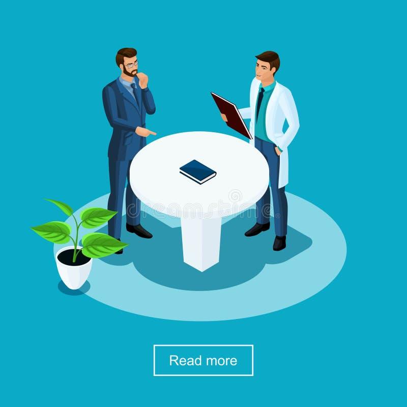 Les soins de santé d'Isometrics et les technologies innovatrices, hôpital, personnel médical, le patient communiquent avec le doc illustration stock