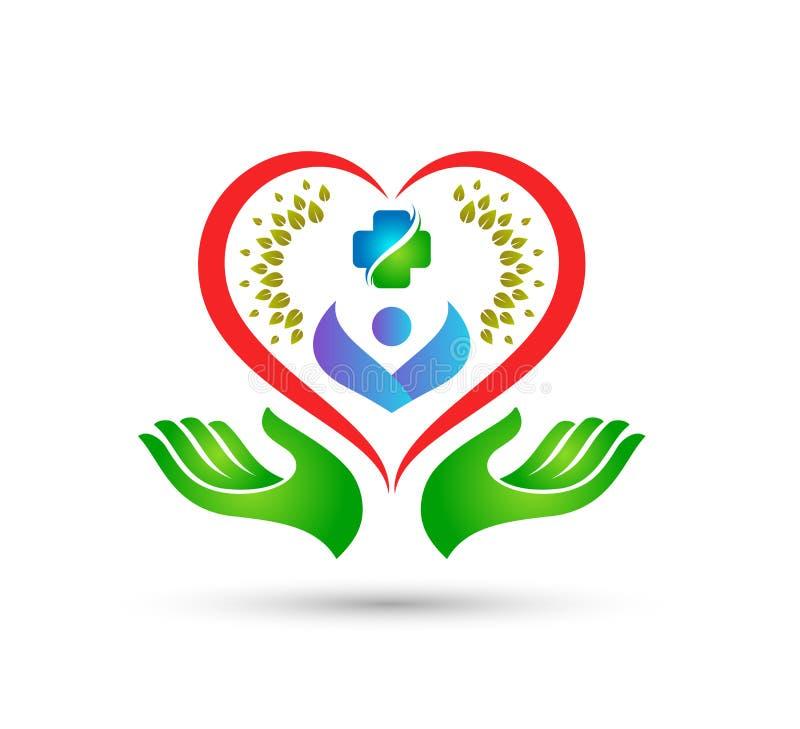 Les soins de santé verts de personnes de logo de coeur dans des mains dirigent ensemble la meilleure conception de logo de qualit illustration stock