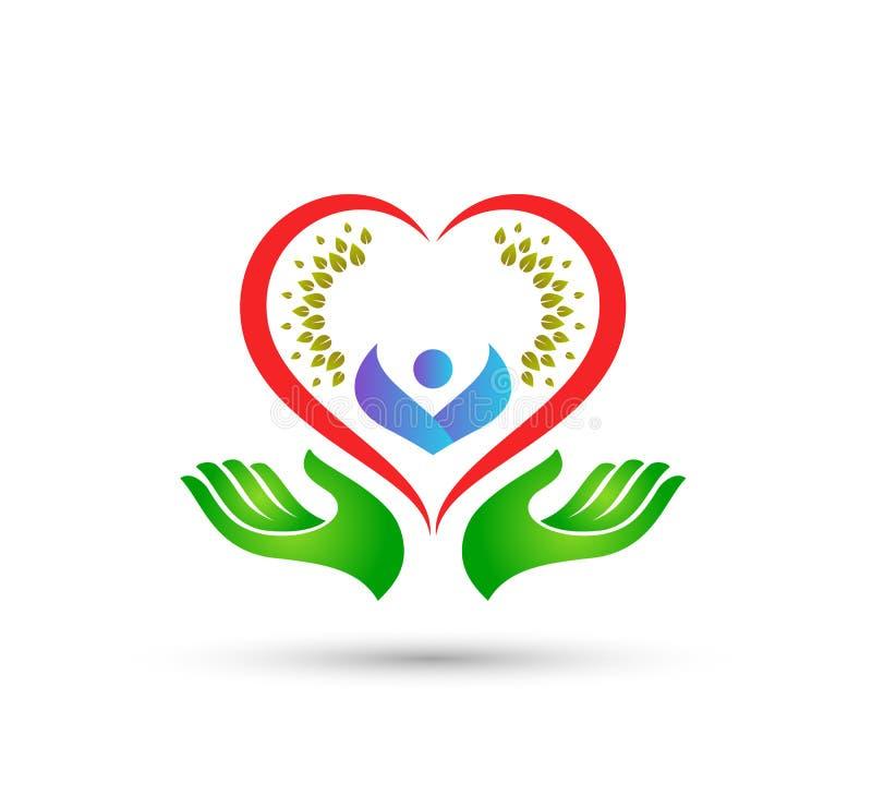 Les soins de santé verts de personnes de logo de coeur dans des mains dirigent ensemble la meilleure conception de logo de qualit illustration libre de droits