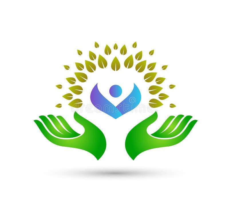Les soins de santé verts de personnes de logo dans des mains dirigent ensemble la meilleure conception de logo de qualité pour vo illustration de vecteur