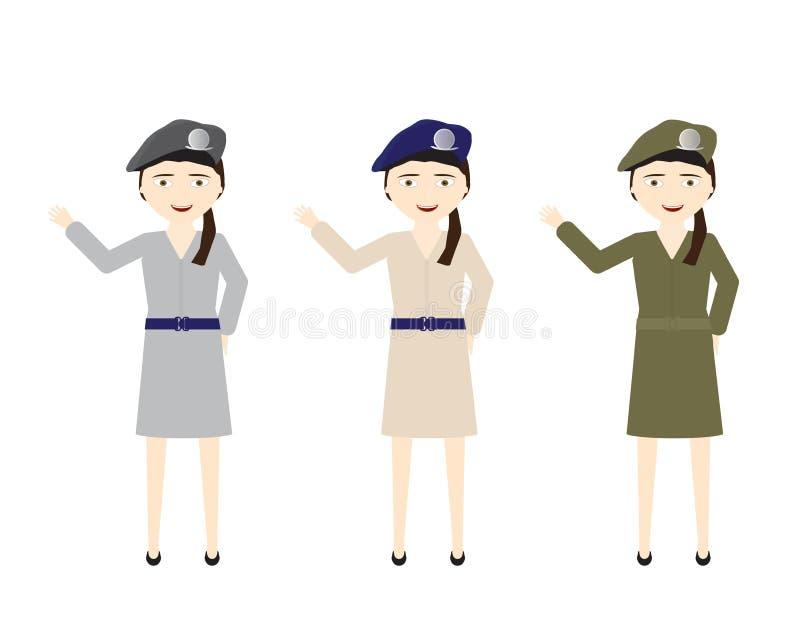 Les soldats féminins dans diverses jupes uniformes colore le bonjour de ondulation illustration stock
