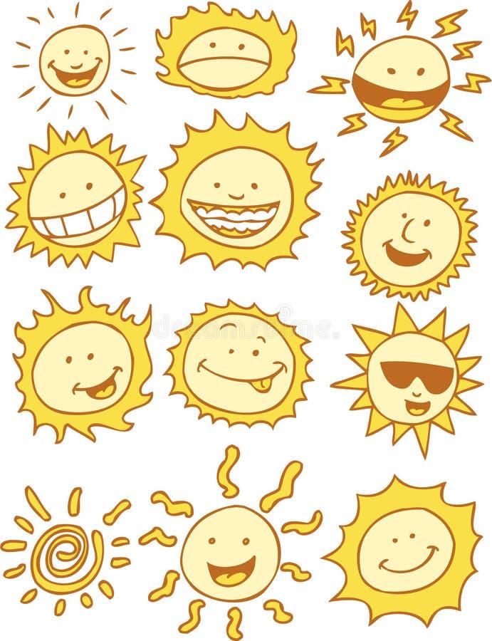 Les soleils - dessin animé illustration stock