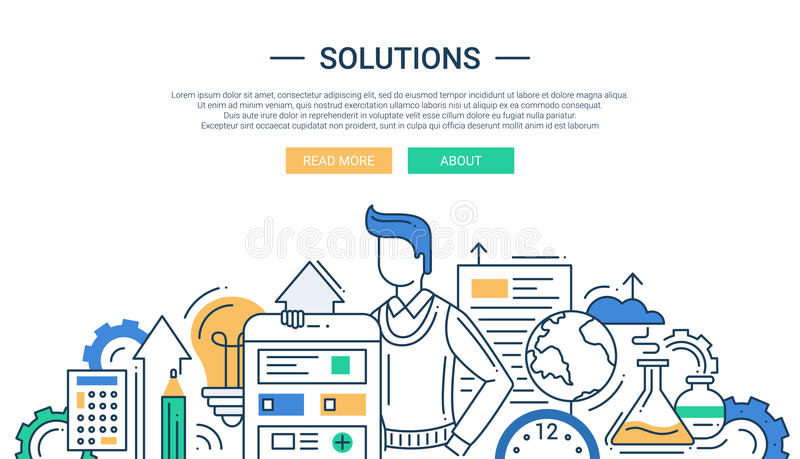 Les solutions rayent la bannière plate de conception avec des outils de mâle et d'affaires illustration stock
