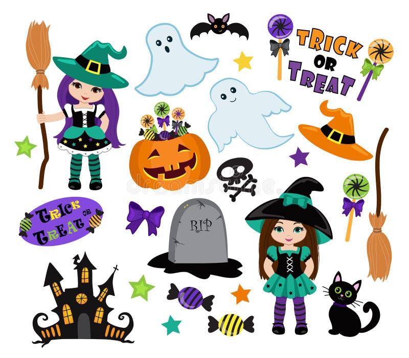 Les sorcières mignonnes de Halloween placent et conçoivent des éléments illustration stock