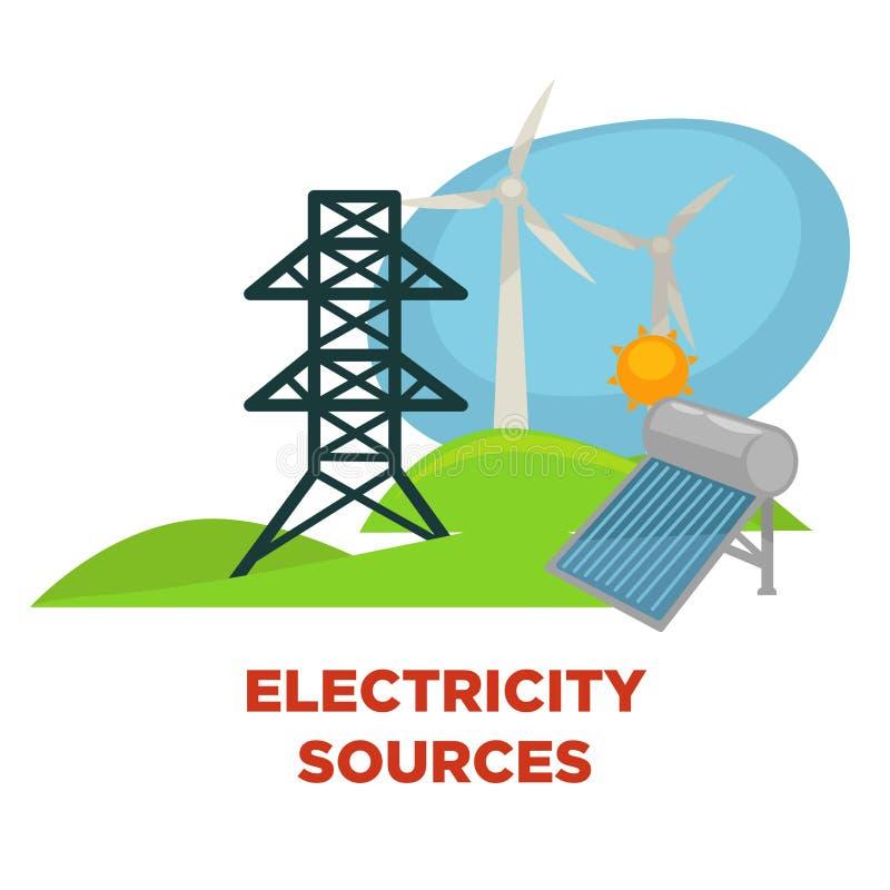 Les sources de l'électricité et l'énergie verte d'eco actionnent la batterie solaire, le moulin à vent et le soleil plats de vect illustration libre de droits
