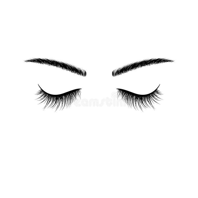 Les sourcils et les yeux noirs de cils se sont fermés La publicité des cils faux Illustration de vecteur d'isolement sur le fond  illustration libre de droits