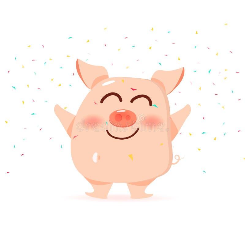Les sourires de porc, célèbrent avec les personnages de dessin animé en baisse, mignons et drôles de papier de confettis, la nouv illustration libre de droits