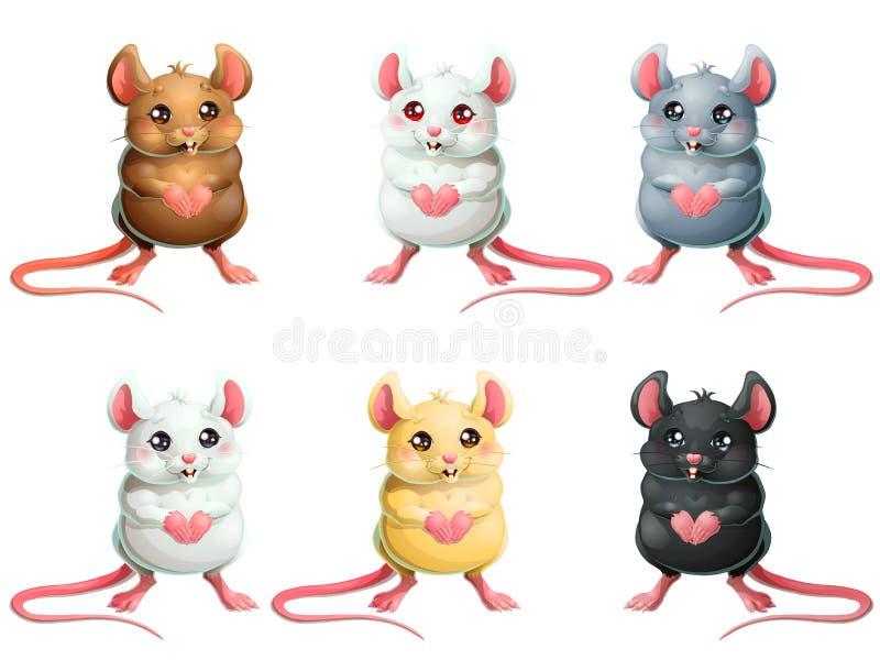 Les souris mignonnes de l'ensemble six sur le blanc photographie stock libre de droits