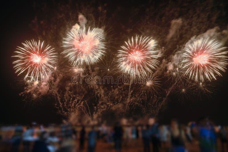Les spectateurs observent les feux d'artifice colorés dans le ciel nocturne sur la plage images stock