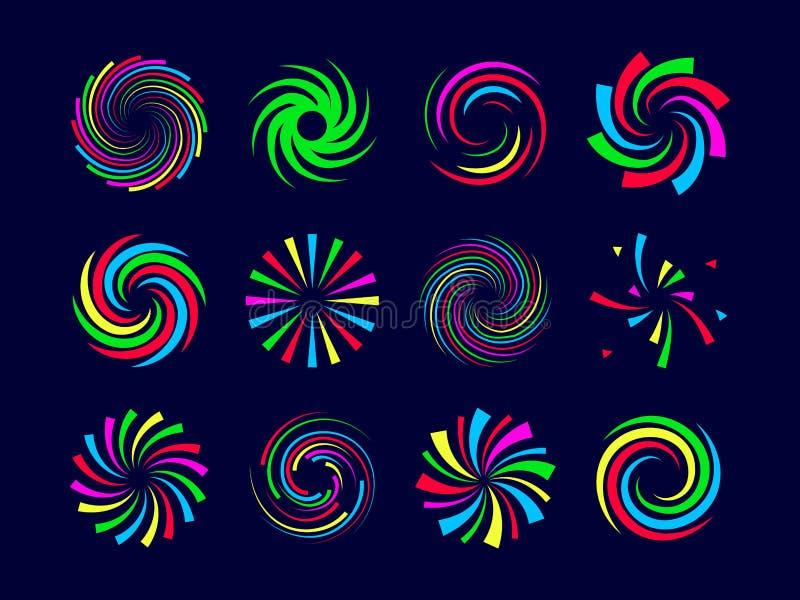Les spirales de fête colorées tordent et tourbillonnent des feux d'artifice réglés illustration libre de droits