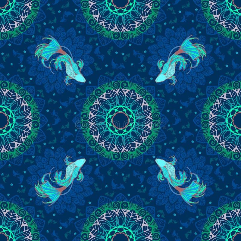 Les splendens de Betta pêchent ou les poissons de combat conçoivent avec le concept de lagune et décoratif avec le mandala dans l illustration stock