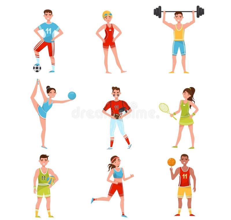 Les sportifs professionnels ont placé, des joueurs dans le football, base-ball, basket-ball, volleyball, tennis et d'autres sport illustration stock