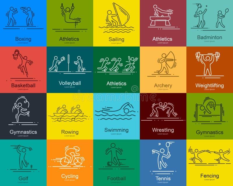 Les sports amincissent la ligne pictogrammes réglés par icônes de vecteur illustration libre de droits