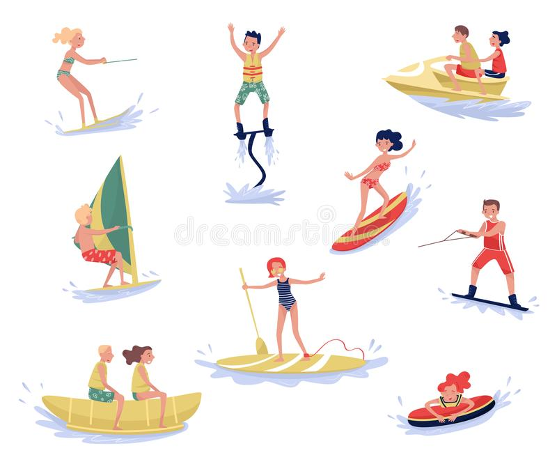 Les sports aquatiques extrêmes ont placé, waterski, flyboarding, faisant de la planche à voile, surfant, paddleboarding, wakeboar illustration stock