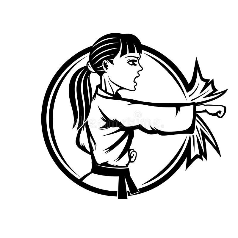 Les sports de femme de karaté signent illustration libre de droits