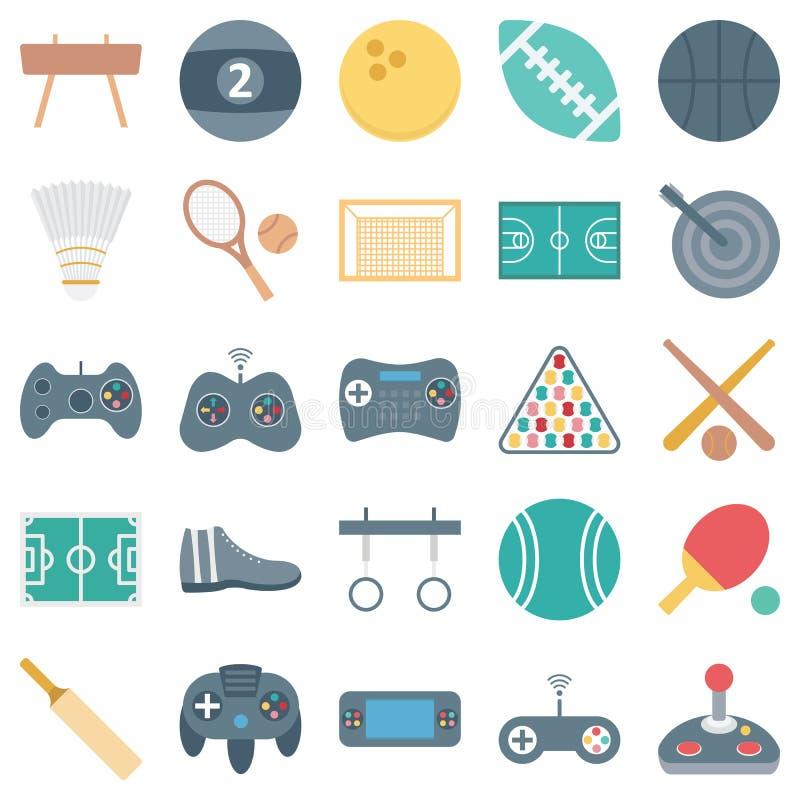 Les sports et les icônes de vecteur d'isolement par jeu consiste la boule, le gamepad, le psp, le tennis et beaucoup plus, utilis illustration stock