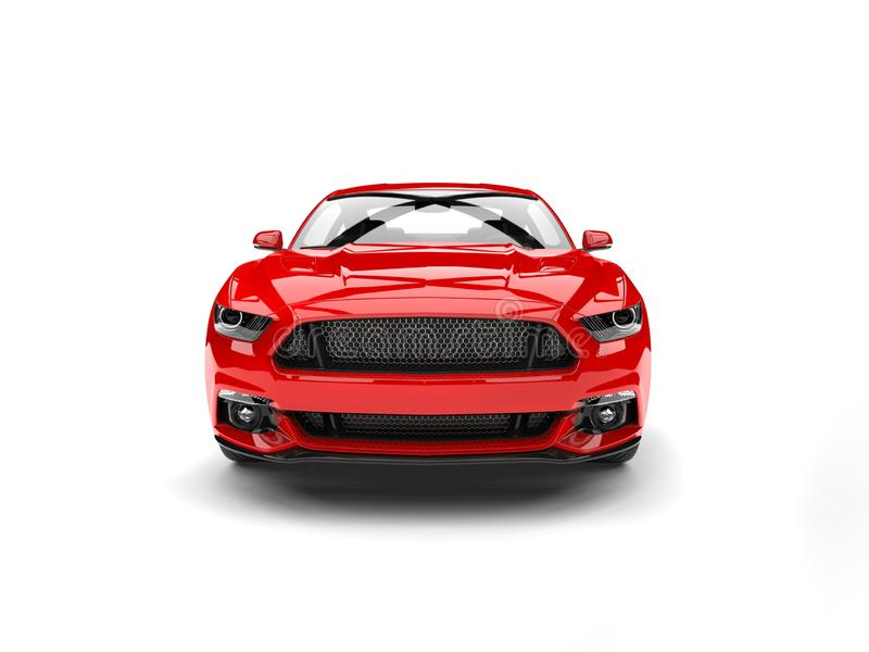 Les sports modernes foncés de rouge cramoisi muscle la vue de face automobile illustration de vecteur