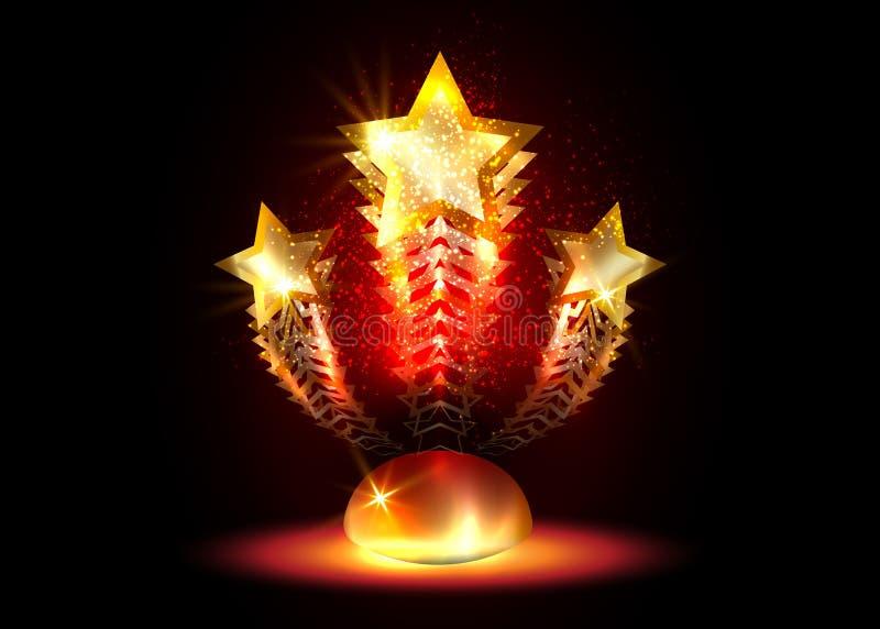 Les stars d'Hollywood s'élèvent vers la gloire Primes d'étoile glitter de la partie cinéma, carte vidéo vectorielle de l'académie illustration stock