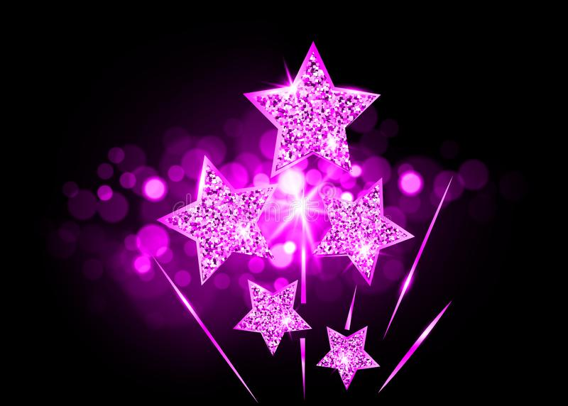 Les stars d'Hollywood se l?vent jusqu'? la gloire Carte de l'académie VIP de vecteur de récompense d'étoile de scintillement d'or illustration de vecteur