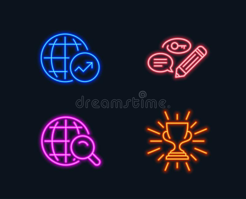 Les statistiques de mots-clés, du monde et l'Internet recherchent des icônes Signe de trophée Crayonnez avec la clé, rapport glob illustration de vecteur