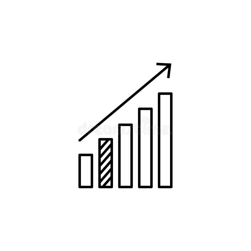 les statistiques lèvent l'icône de flèche Élément d'en ligne et Web pour le concept et l'icône mobiles d'apps de Web Ligne mince  illustration stock