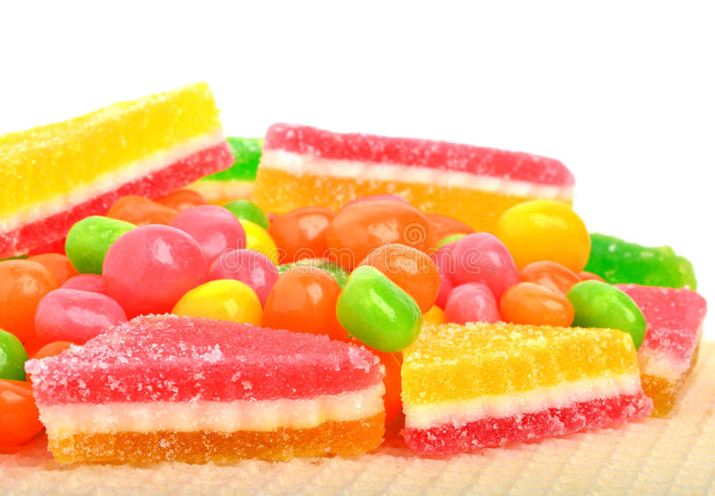 les sucreries de fruit, dragée douce, gommes isolayed photo stock