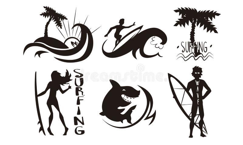 Les surfers, vagues, silhouettes de paumes les vagues de monte placent, d'hommes et de femme avec des planches de surf, éléments  illustration libre de droits