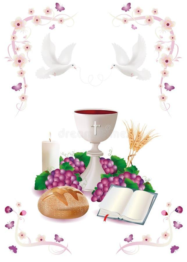 Les symboles chrétiens d'isolement avec les calice-pain-bible-raisin-bougie-où-oreilles blanches des ornements blé-roses fleuriss illustration libre de droits