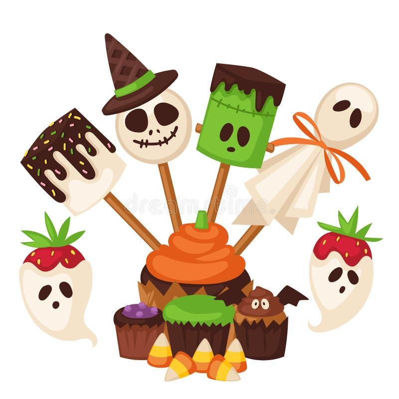 Les symboles de biscuit de Halloween du gâteau de nuit de nourriture font la fête illustration stock