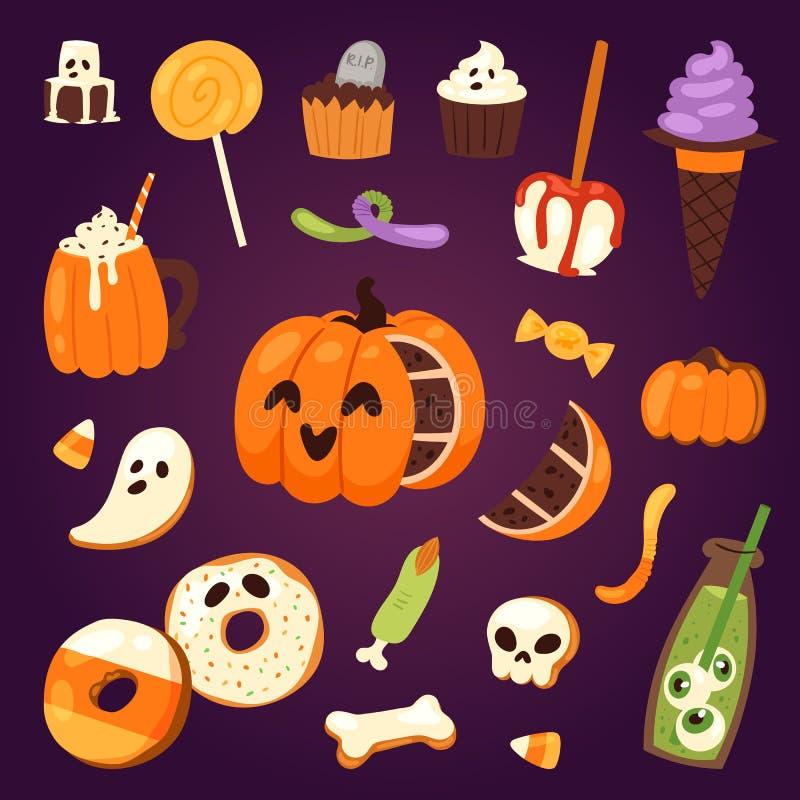 Les symboles de biscuit de Halloween du gâteau de nuit de nourriture font la fête l'illustration de vecteur illustration stock
