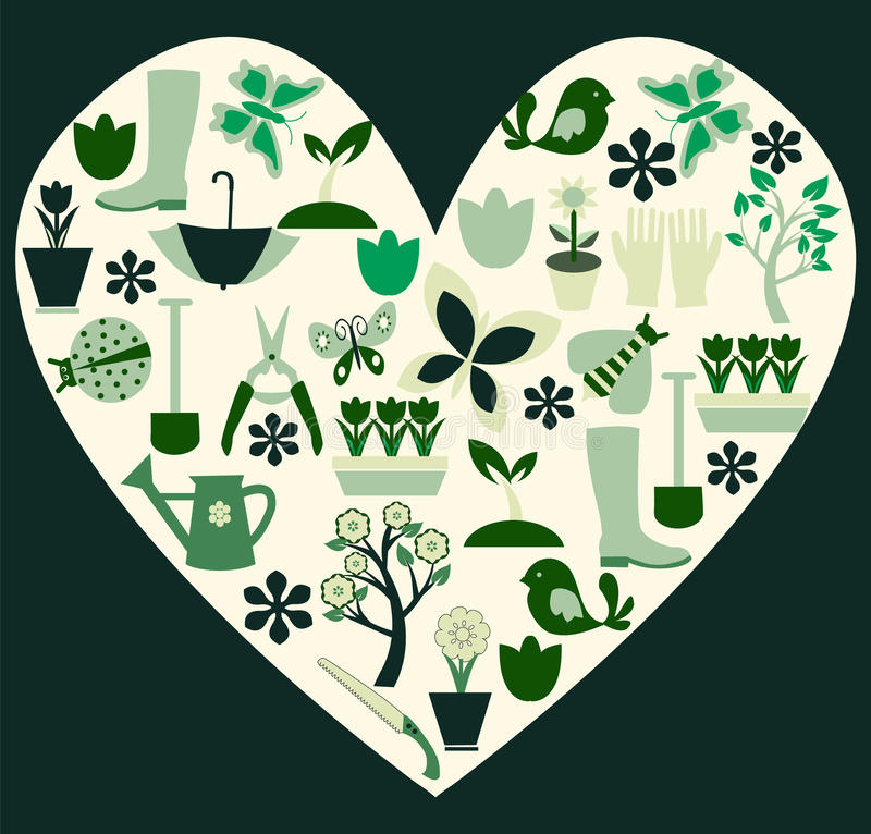 Les symboles de jardinage et de ressort ont rempli illustration de coeur illustration libre de droits