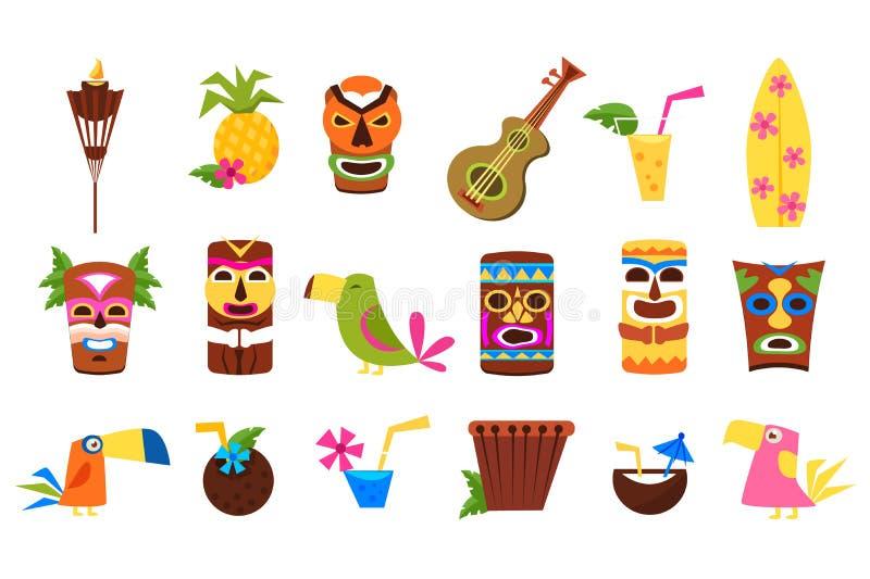Les symboles de l'ensemble d'Hawaï, des masques tribals de Tiki, des cocktails tropicaux, des fruits, des oiseaux et des instrume illustration de vecteur