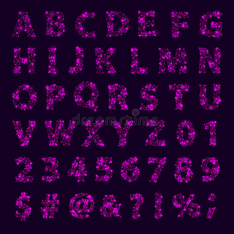Les symboles de lettres abstraits typographiques de conception de la géométrie d'étoile de l'espace de manuscrit d'oeil d'un cara illustration libre de droits