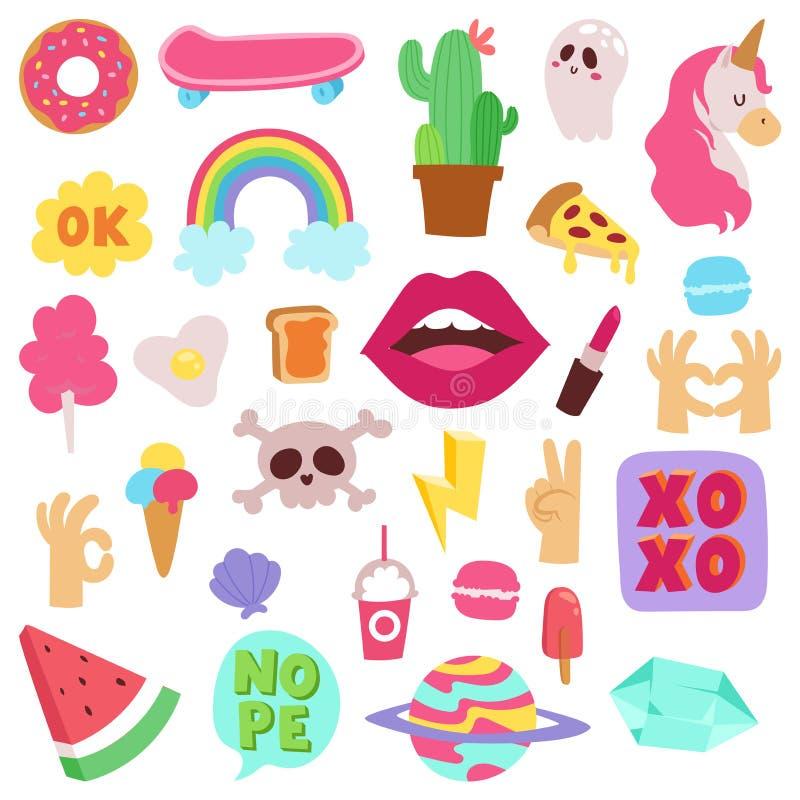 Les symboles de mode de fille dirigent les icônes colorées mignonnes poney, cheval de klaxon, lèvres, amour de bande dessinée d'a illustration de vecteur