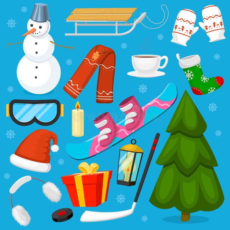 Les symboles de Noël d'hiver dirigent les icônes folâtrent et la neige d'hiver de vacances, la glace, le bonhomme de neige, l'arb illustration stock