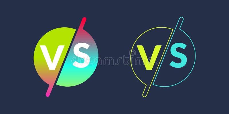 Les symboles lumineux d'affiche de la confrontation CONTRE, peuvent être le même logo Illustration de vecteur illustration stock