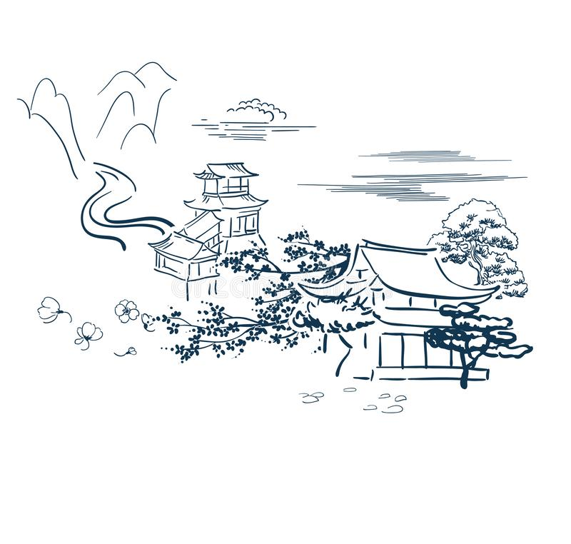Les symboles moteurs japonais dirigent le temple de carte de croquis traditionnel illustration stock