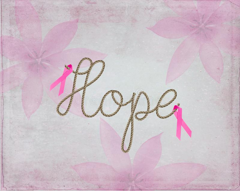 Les symboles roses de ruban avec espoir de mot dans la corde conçoivent illustration libre de droits