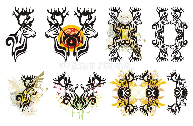 Les symboles tribals de cerfs communs et le cerf commun éclabousse illustration stock
