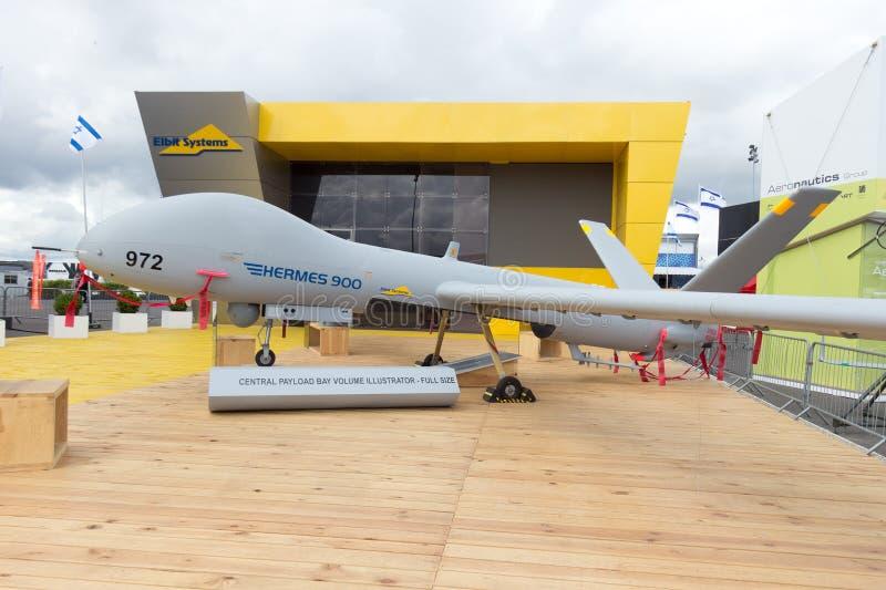 Les systèmes Hermes 900 d'Elbit ont touché le véhicule aérien (l'UAV) photographie stock libre de droits