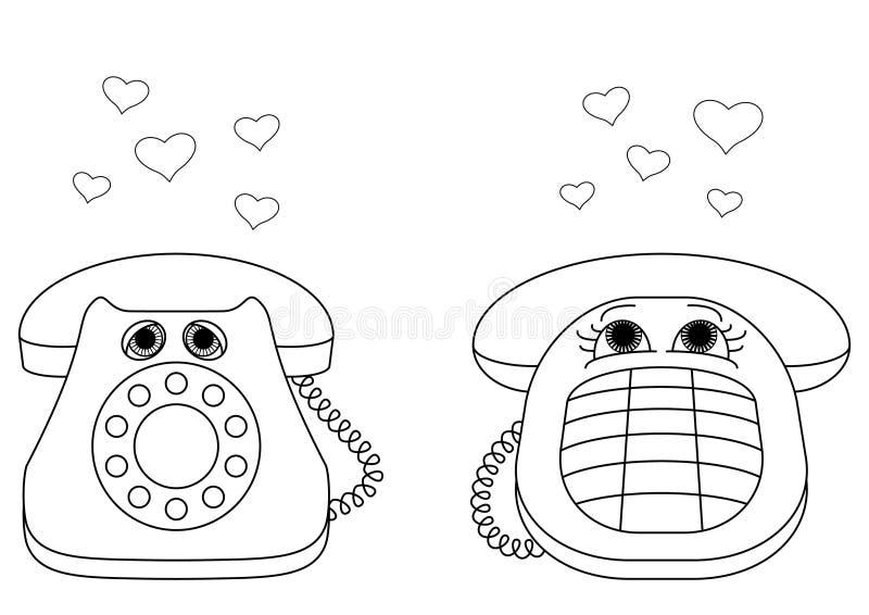 Les téléphones de bureau sont enamourés, des formes illustration stock