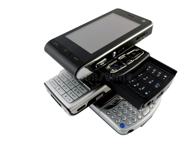 les téléphones modernes mobiles plusieurs empilent le blanc images stock