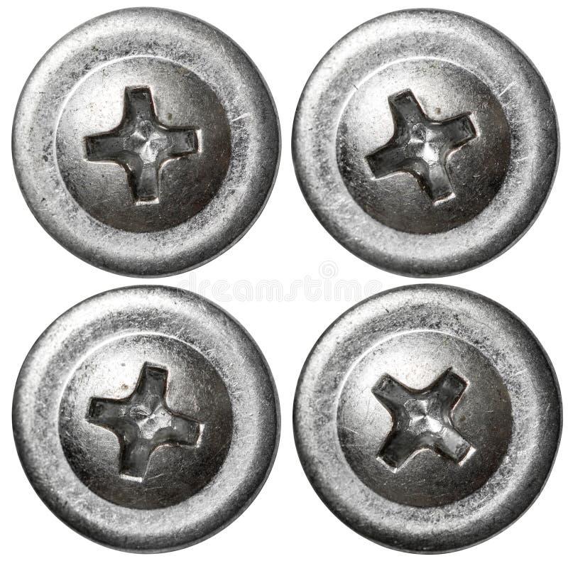 Les têtes de clou de vis en métal ont placé d'isolement sur le fond blanc photographie stock libre de droits
