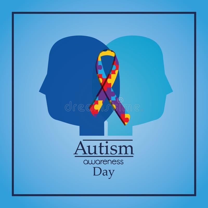 Les têtes humaines de jour de conscience d'autisme profilent la célébration de ruban de puzzle illustration libre de droits